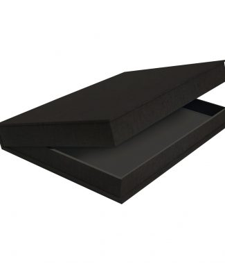 Black Linen Clamshell Box