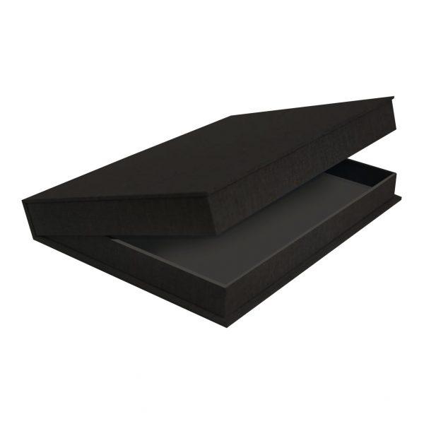 Black Linen Clamshell Box