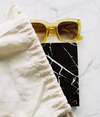 Canvas drawstring bag for sunglasses
