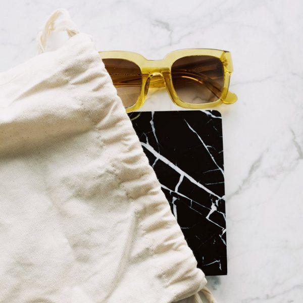 Canvas drawstring bag for sunglasses
