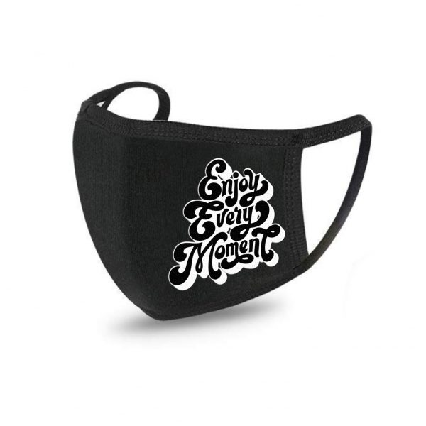 Black cotton fabric face mask