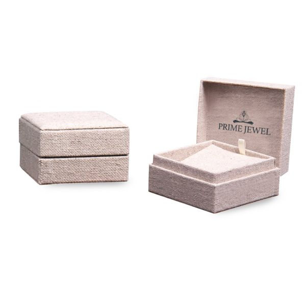 Rustic fabric jewelry boxes with cotton and logo screen