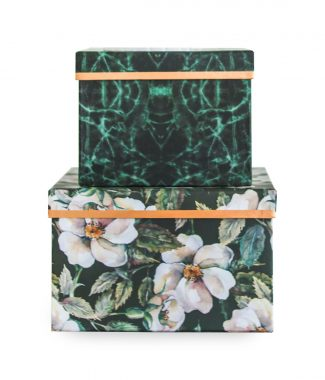 Paper gift box with floral and marble print
