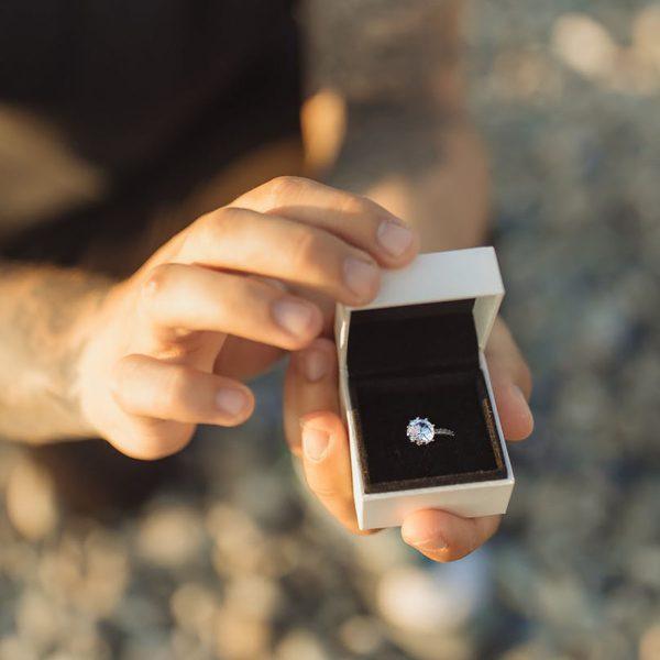 white engagement ring box