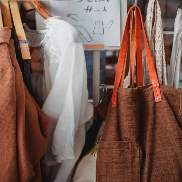 Brown hemp tote bag