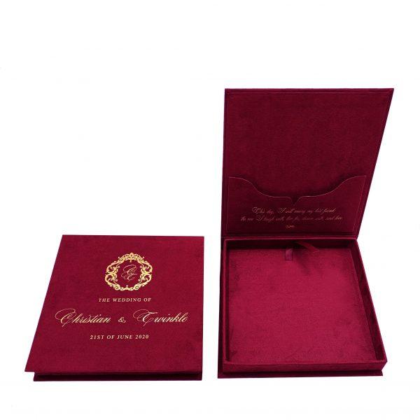 Red velvet monogram wedding box